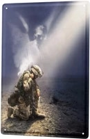 Plaque decorative en fer blanc  plaque decorative  pour la maison  Assistance dun soldat nostalgique et dun ange