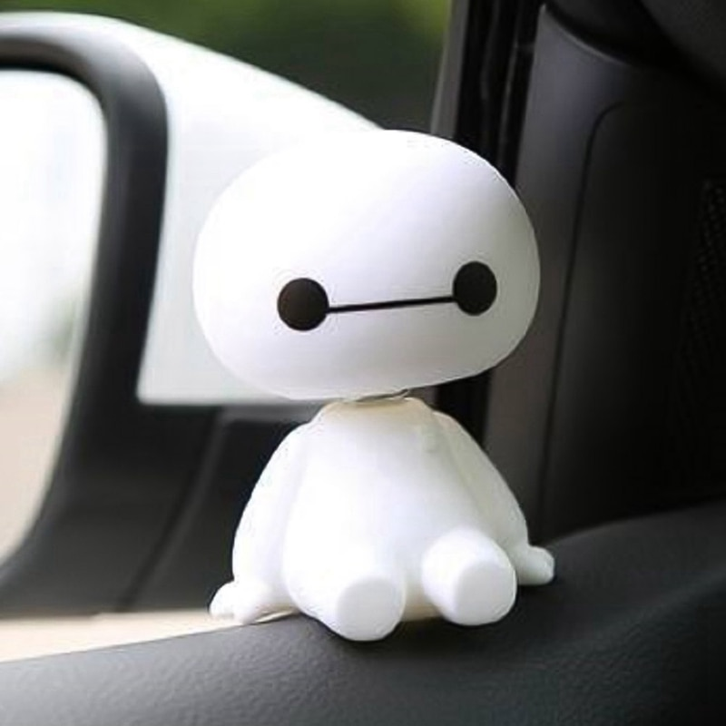 car ornaments nodding lovely resin shaking head interior decorations accessories for vehicle decorating cars Cartoon Shaking Head Robot Ornament Car Auto Interior Decorations  Car Cute White Doll Ornaments Interior Accessories
