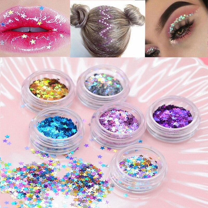 6 farben fünf-stern augen glitter pailletten glitter diamanten auge haut fluorescent haut glitter pailletten kosmetik dekoration
