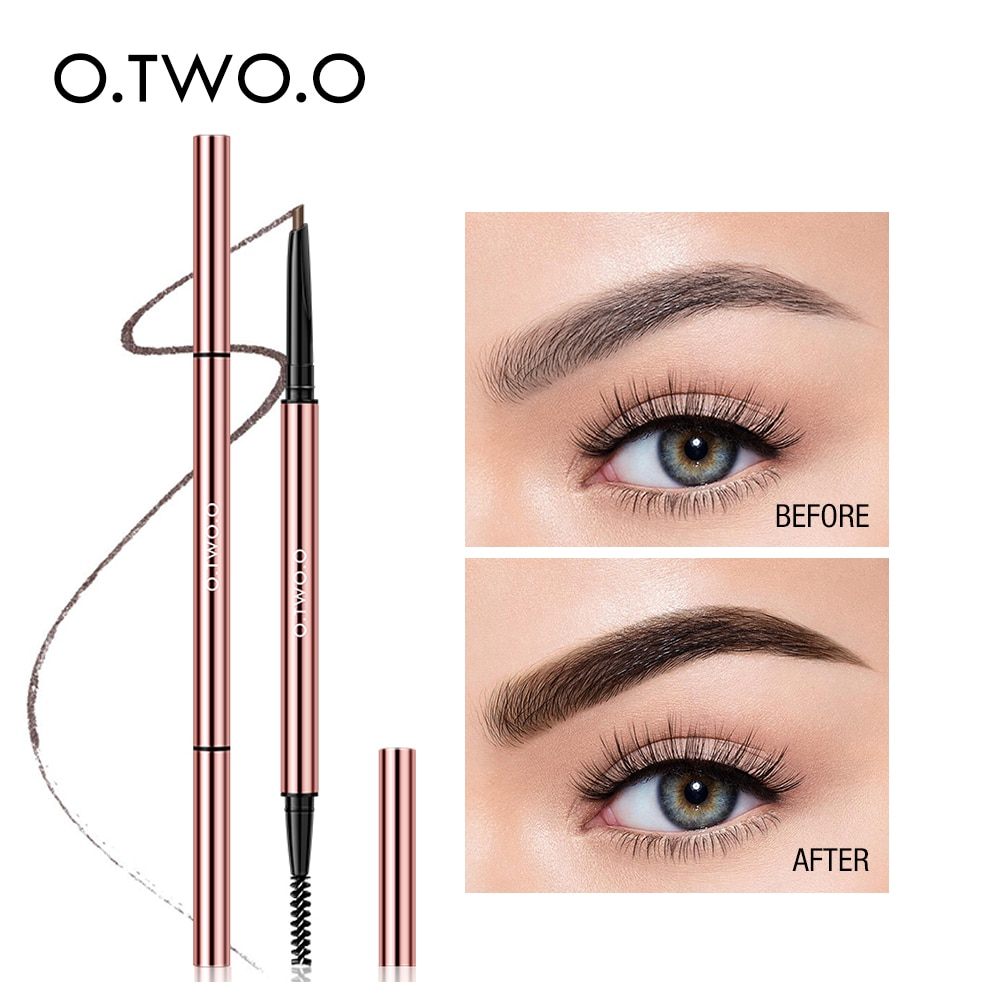 O.TWO.O Ultra fino lápiz de cejas triangular preciso delineador de cejas duradero impermeable Rubio marrón cejas maquillaje 6 colores