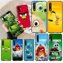 PENGHUWAN Cartoon angry birds Soft black Phone Case for Huawei Honor 20 10 9 8 8x 8c 9x 7c 7a  Lite view pro