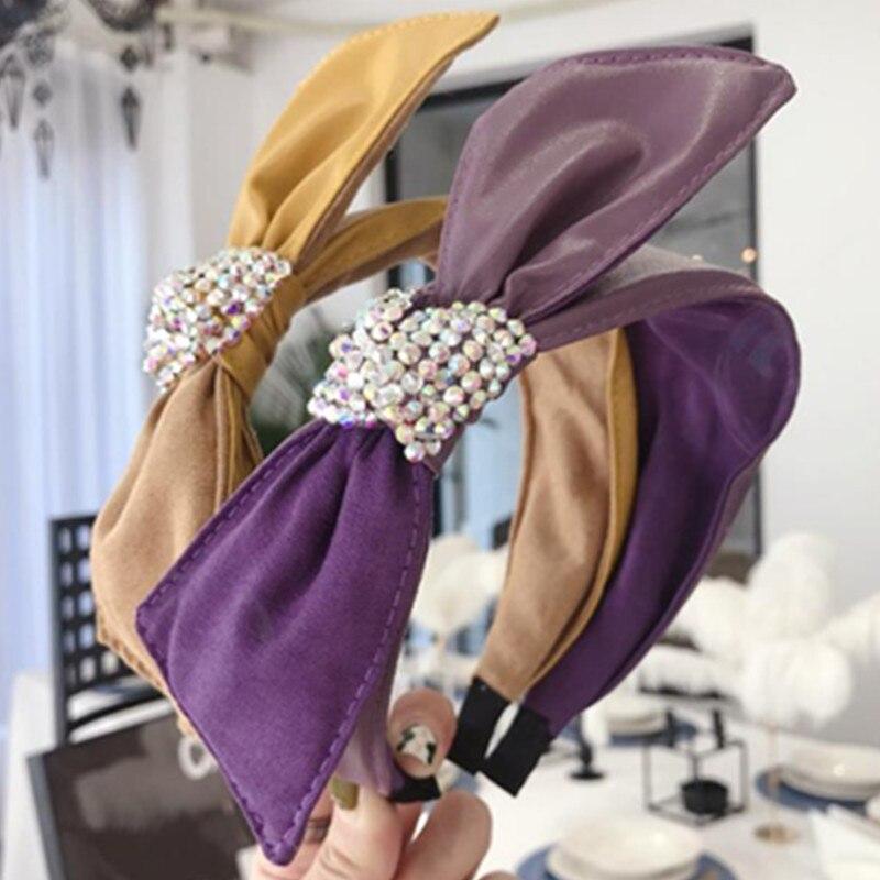 Bandeau en cuir PU à nœud latéral pour femmes   Accessoires de cheveux en cristal pour tête dadulte, bandeau à gros nœud solide