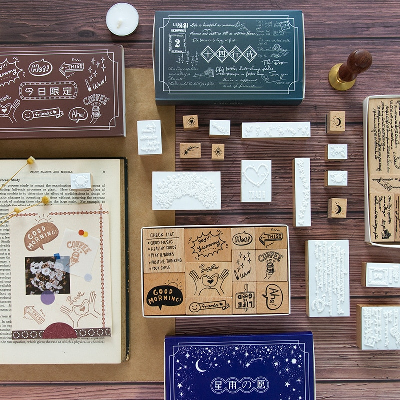 Retro Sonnet series wood stamp set DIY craft wooden stamps for scrapbooking stationery standard