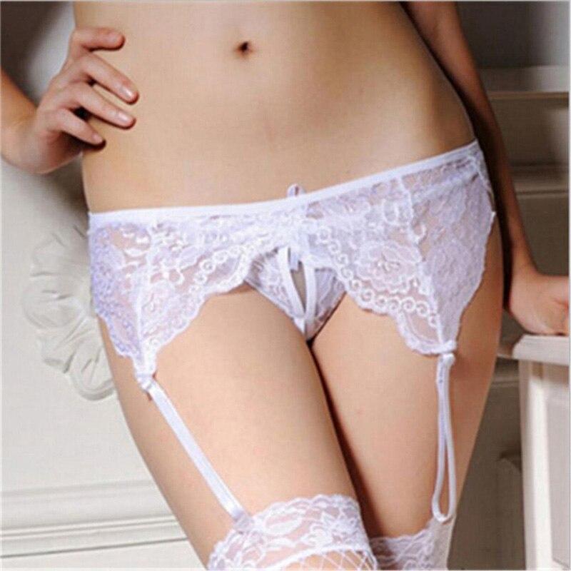 Mujer Sexy pura encaje Ligas Sexy medias al muslo Liga medias de cinturón Lencería Bondage Liga cinturón de la Liga conjunto