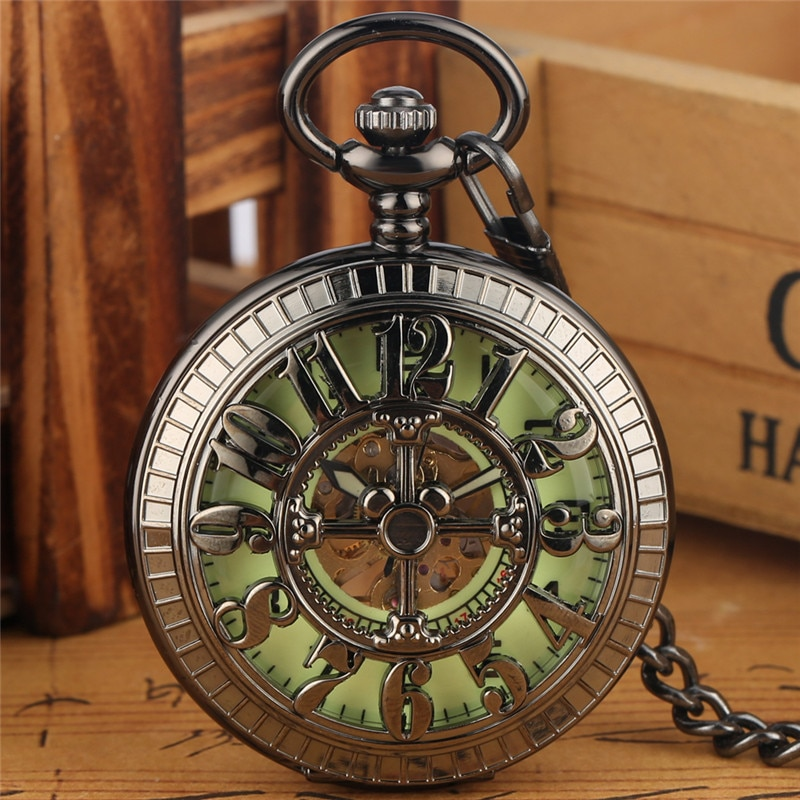 Steampunk Full Black Unisex Handwind Mechanical Pocket Watch Arabic Number Dial Manual Skeleton Clock Pendant Chain Collectable