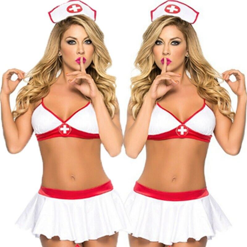 Mujer sexy enfermera traviesa vestuario Cosplay uniforme Lencería blanca vestido de lujo G-string Babydoll ropa interior traje de fiesta