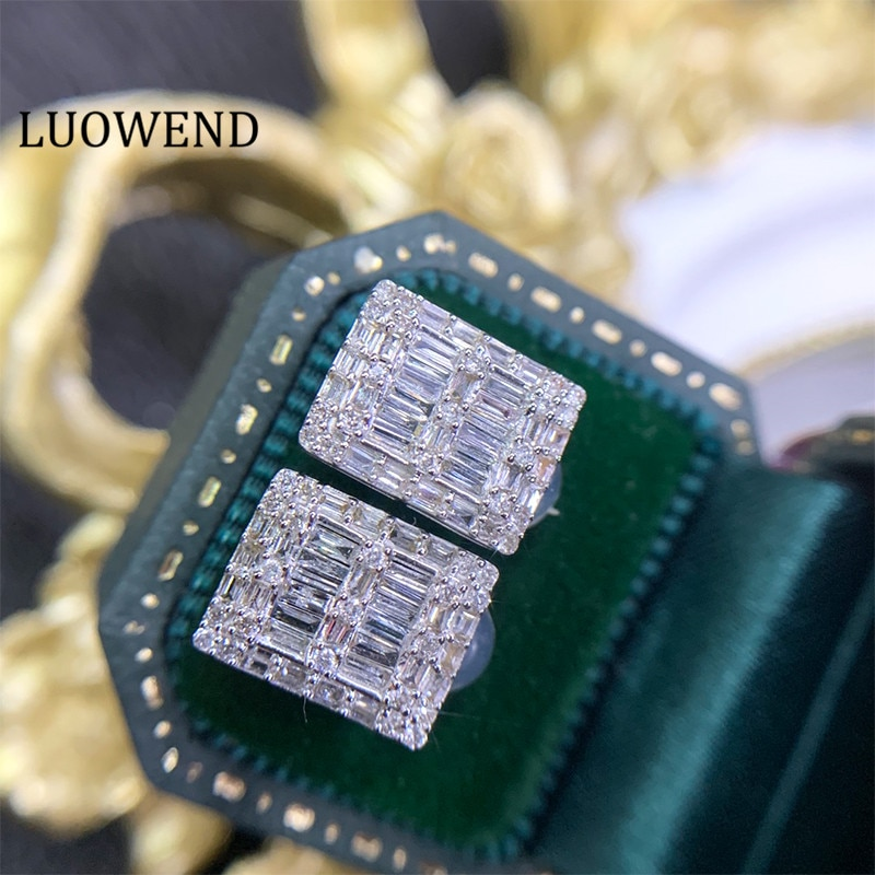LUOWEND 100% 18K Solid White Gold Au750 Women Stud Earrings Real Natural...