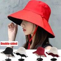 double sided foldable bucket hat fisherman sun hat for women girls outdoor beach visor hats anti uv wide brim sunscreen cap caps