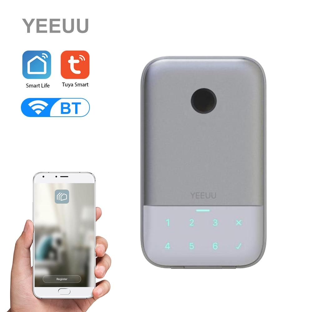 YEEUU Tuya Smart Key Storage Lock Box BT 4.2 Wireless Network Fingerprint Password Key Safe Box APP Remote Control Weatherproof