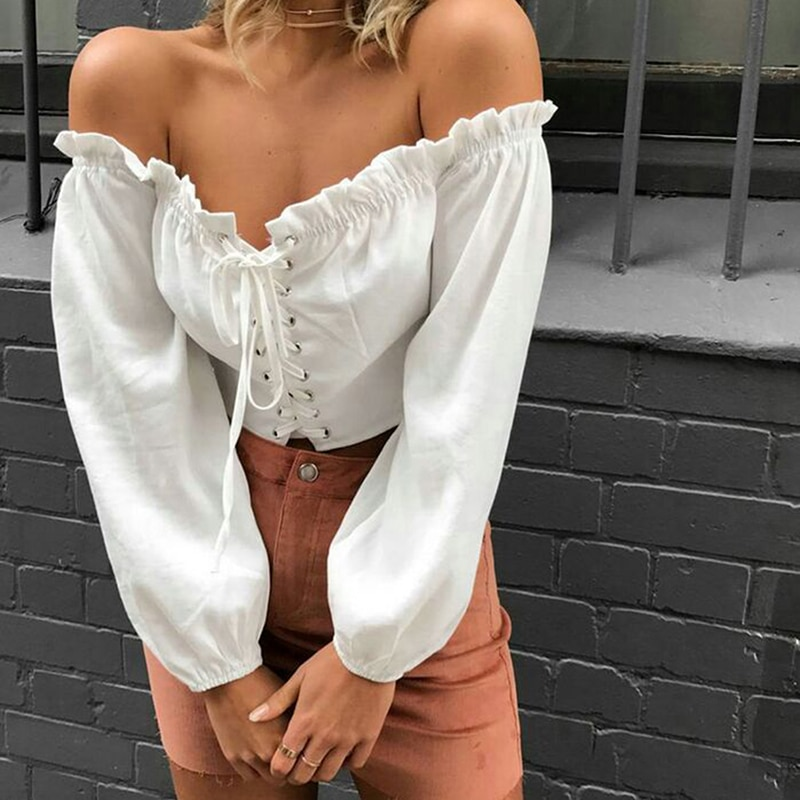 Summer 2021 Sexy Off Shoulder Slash Neck Women Blouse Sexy Ruffle Lace Up Long Sleeve White Crop Top Women Bandage Short Blusas