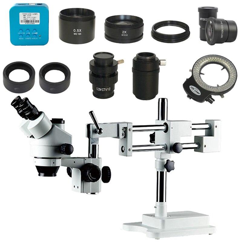 3.5X-90X двойной стрелы стерео Simul фокальный тринокулярный микроскоп + 20MP HDMI промышленный HDMI микроскоп камера + 1/2 1/3 адаптер