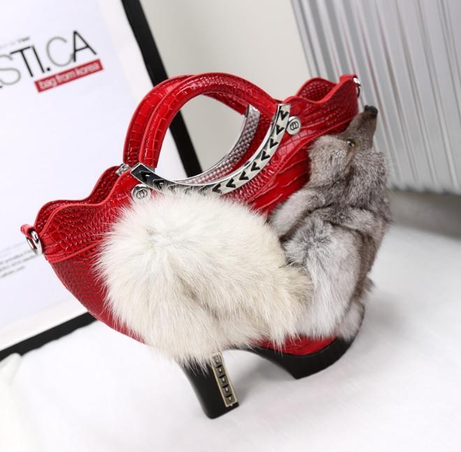 Women's Genuine Leather Handbags High Heel Shoes Shape Bag Phone Money Pouch Chain Fox Crossbody Bag Luxury Totes Shoulder Bags