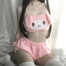 Lovely Lolita Rabbit Pajama Sets Underwear Japanese Style Dog Bunny Crop Top+Shorts Sleepwear 2 Pcs