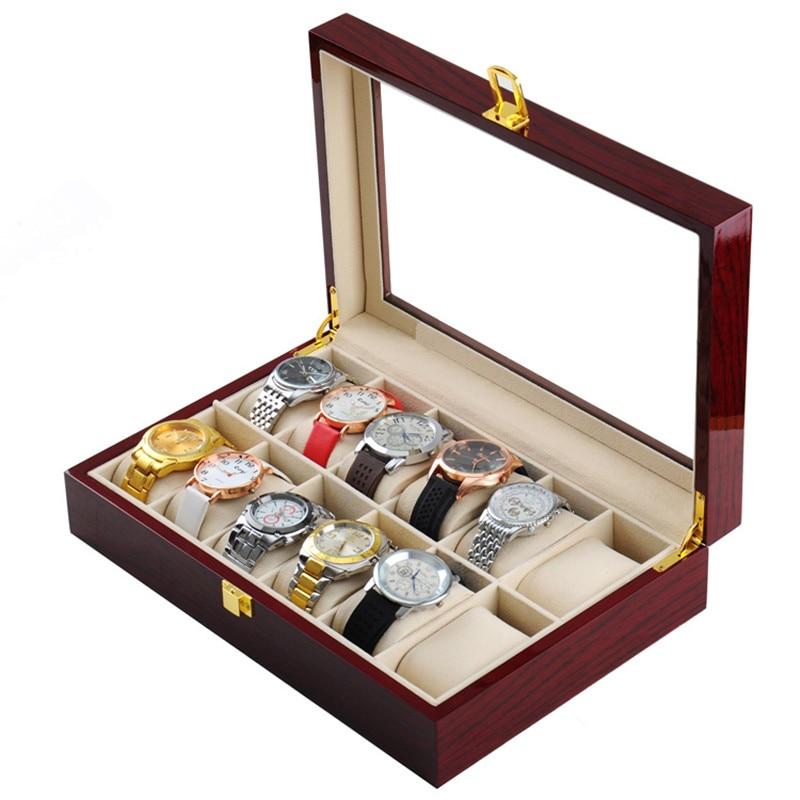 12 فتحات ساعة خشب صندوق صندوق أحمر عالي ضوء ورنيش صندوق لتخزين ساعات اليد ساعة جديدة عرض هدية