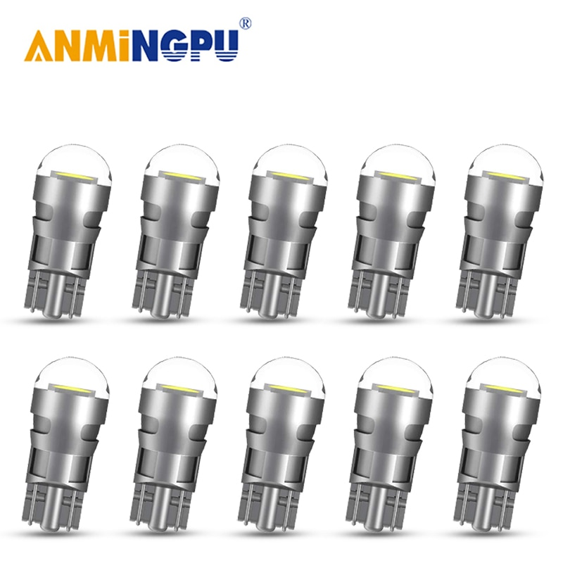 ANMINGPU 10X Signal Lamp W5W Led T10 Bulbs 3030SMD 194 Canbus Super Bright Car Wedge Door Light License Plate 12V