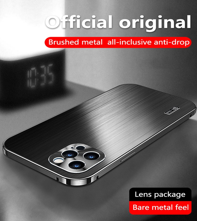 Luxury Aluminium Metal All-Inclusive Phone Case For iPhone 12 Pro Max Laser Brushed Camera Lens Prot