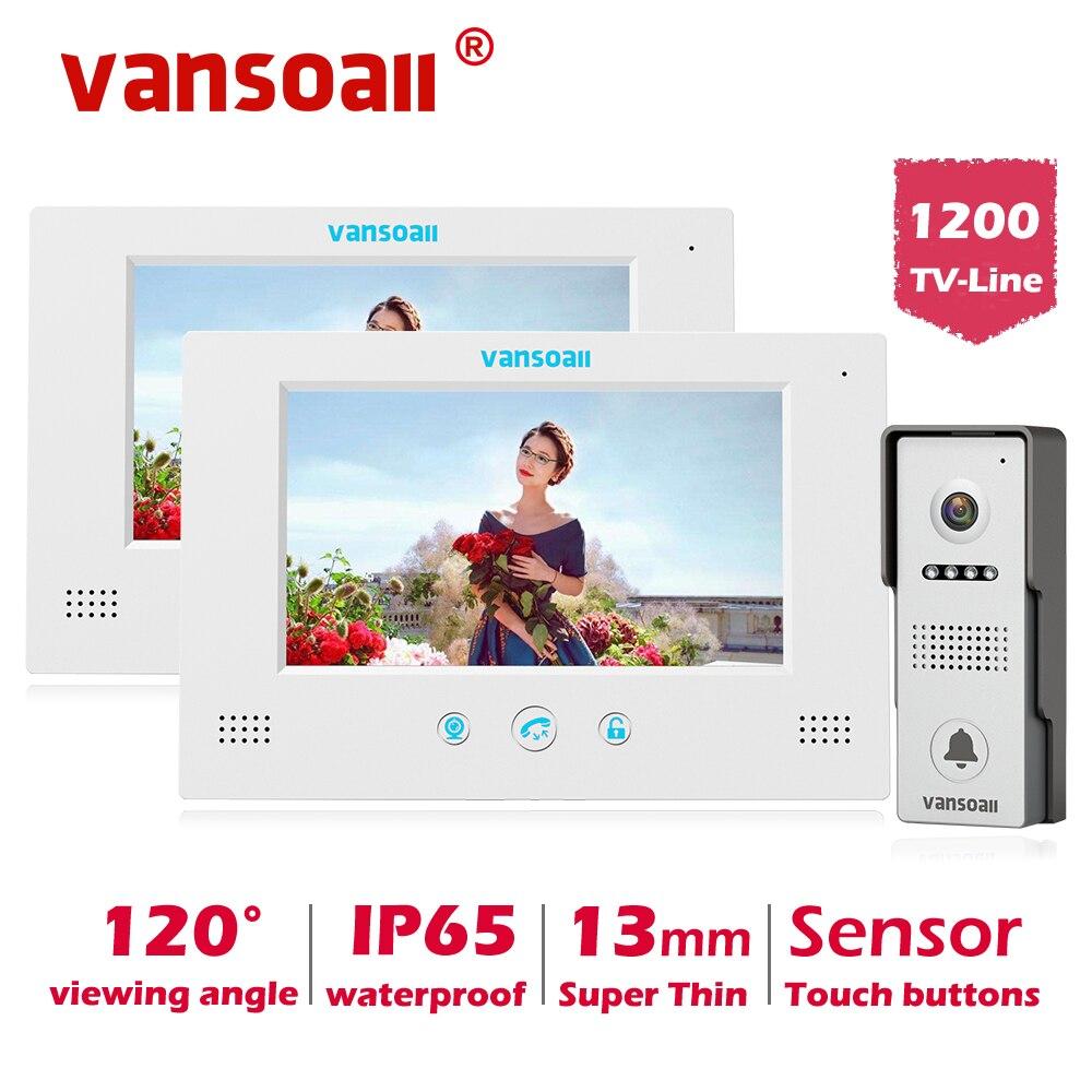 VANSOALL Video de la puerta teléfono Video de la puerta Sistema de portero automático timbre con cerradura de Control botón táctil 2 Color Monitor de 7 pulgadas y 1 HD kit de cámara