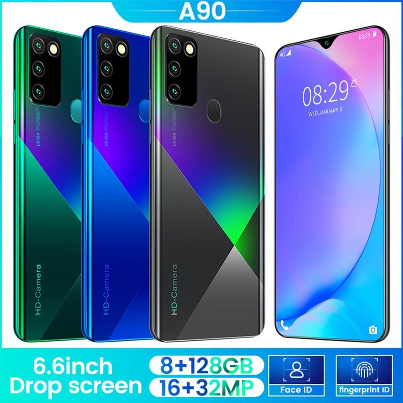 Teléfono inteligente con pantalla completa de 8G + 128G, teléfono móvil con 4 núcleos, Android 9,0, cámara Dual, teléfono inteligente con identificación facial con 4G