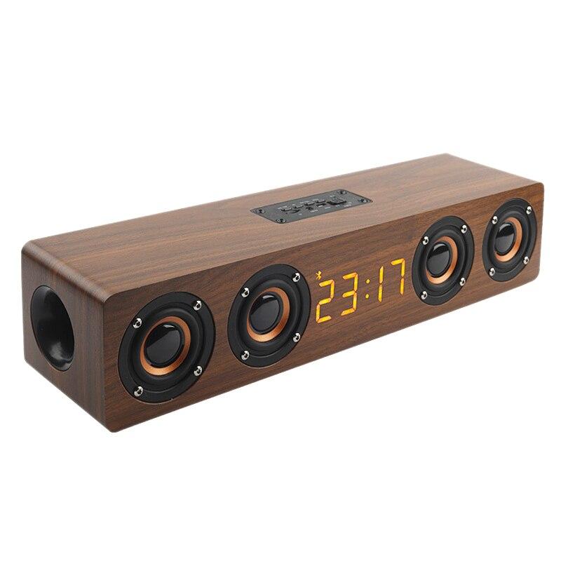 New Wooden Portable Clock Wireless Bluetooth Speaker Stereo PC TV System Speaker Desktop Speaker Sound Post FM Radio Computer Sp