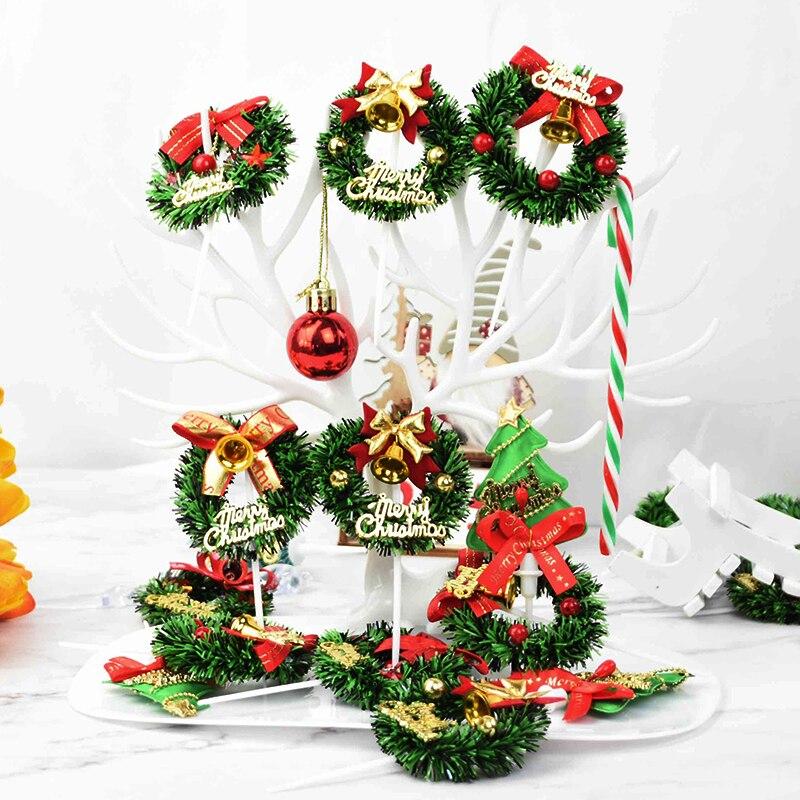 Guirnalda navideña de árbol de Navidad, adorno de pastel, para cupcakes, Año...