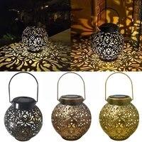 retro peony pattern solar lamp outdoor garden iron lighting light lantern hollow solar hanging waterproof landscape lamp li a0r0