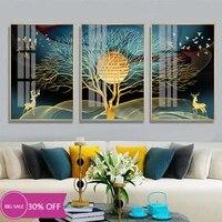 Toile de decoration de noel  peinture danimaux  affiches abstraites  arbre de wapiti  oiseau  tableau dart mural pour decoration de salon  decoration de maison