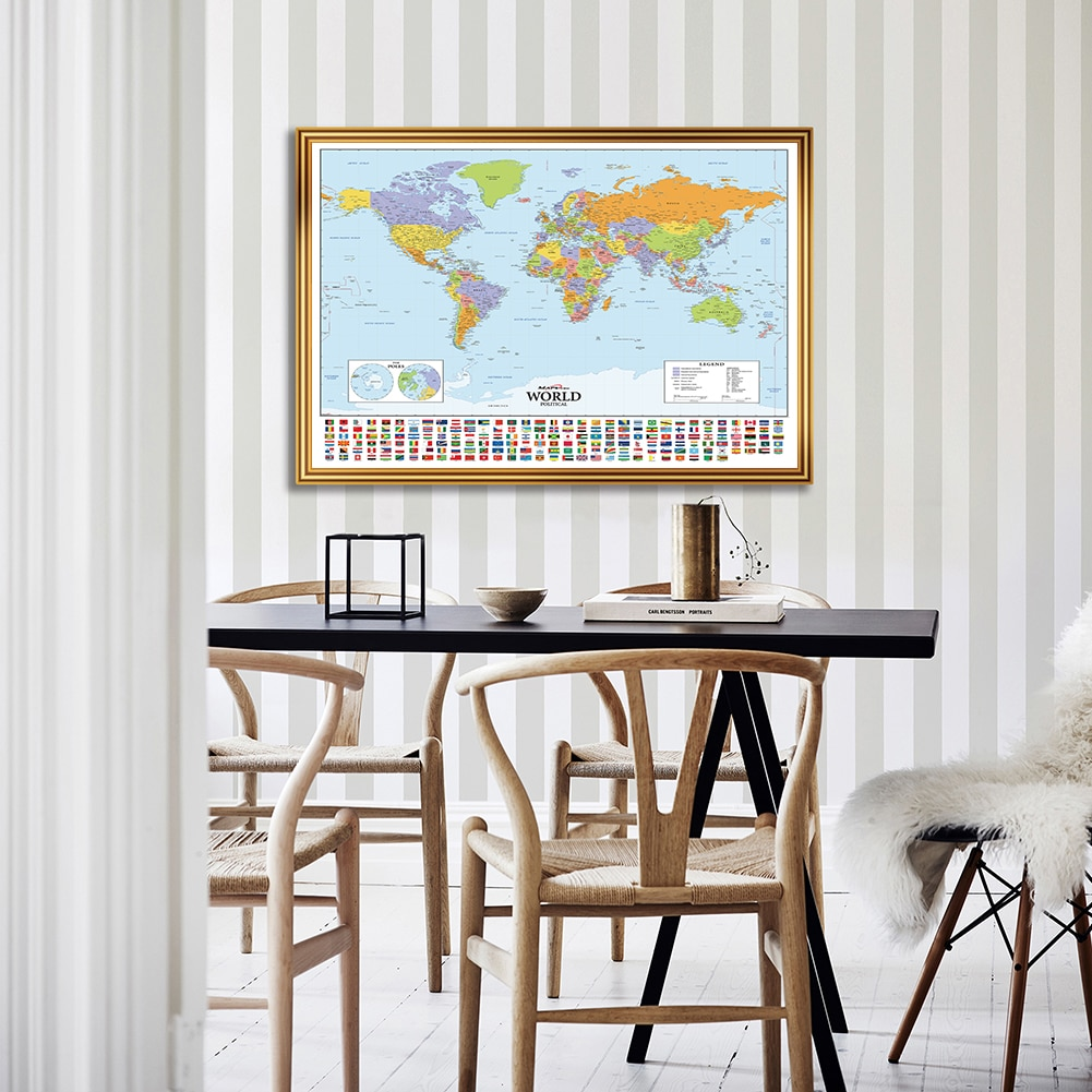 colorful world map wall decor 150x225cm large world map office supplies detailed antique poster wall chart for culture supplies A1 Size The World Political Map Canvas Painting Wall Art Poster Living Room Classroom Home Decor Kids School Supplies