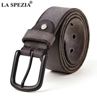la spezia 100 genuine leather belt male first layer cowskin men belt buckle gray men casual high quality belt 110cm 120cm
