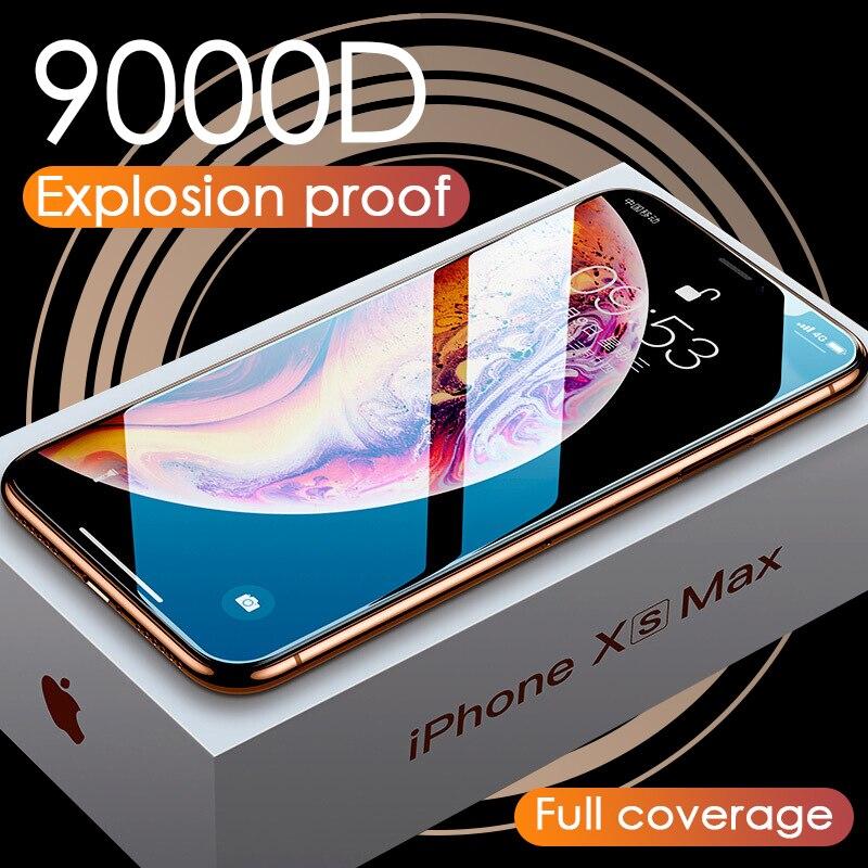 Protecteur d'écran de luxe, en verre trempé 9000D incurvé pour iPhone 11 Pro XS MAX XR X XR 10 7 8 6S Plus
