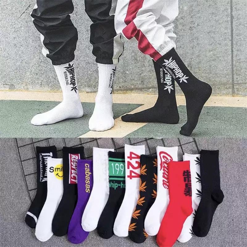 Hip hop calcetines hombres y mujeres street shooting medias moda deportes suave algodón impreso calcetines skateboard Harajuku letra Calcetines
