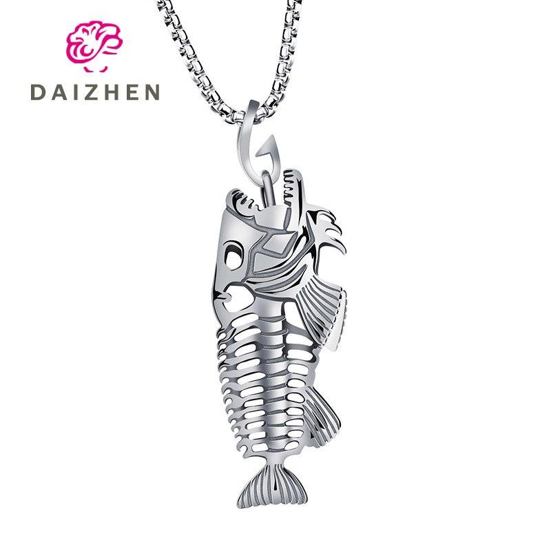 Creativo ornamento de acero inoxidable de Europa y América colgante de acero de titanio collar fresco pez estante de hueso colgante regalo de vacaciones