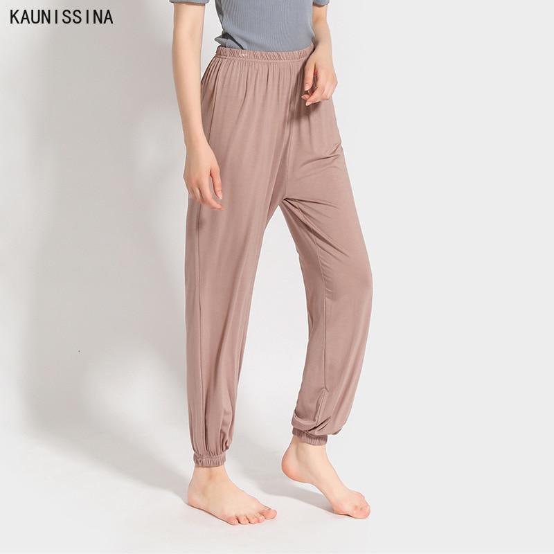 Women Modal Sleep Bottoms Waist Solid Full Length Harem Pajama Pants Nightwear Lounge Wear Pants Fem