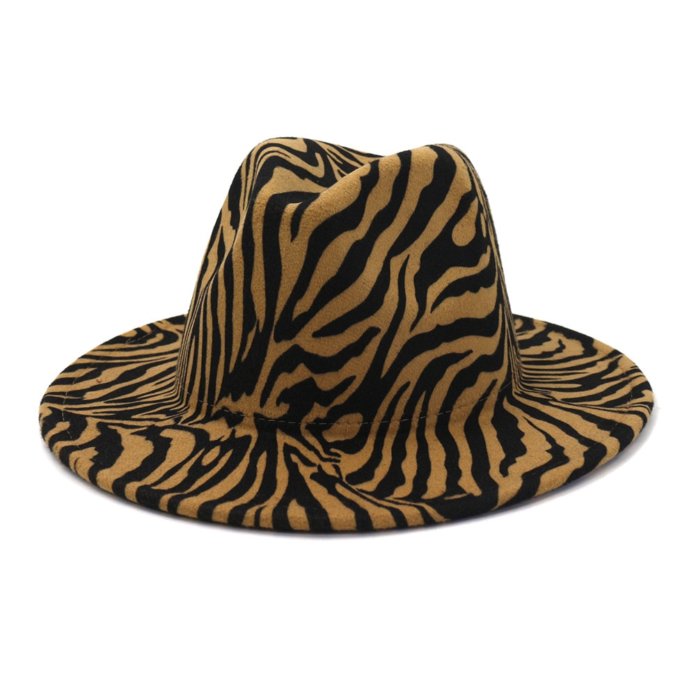 New Arrival Vintage Classic Autumn Winter Man and Woman Fedora Hat Triped Zebra Pattern Casual Men W