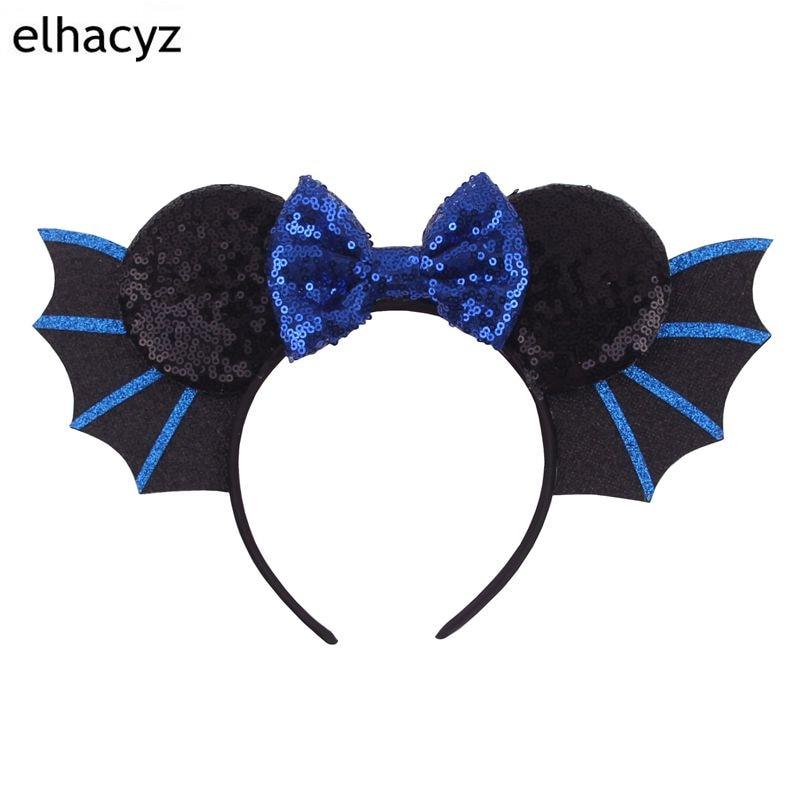 1PC New Hallowen Bat Wings Hairband For Girls Women Festival Minnie Mouse Ear Headband Sequin Bow Headwear Hair Accessories