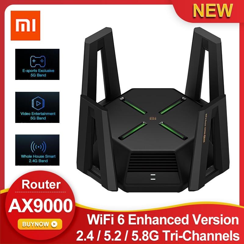 جهاز توجيه شاومي Mi AX9000 AIoT واي فاي 6 نسخة محسنة ثلاثي القنوات وحدة المعالجة المركزية رباعية النواة 1GB RAM 4K QAM 9000Mbps 12 هوائيات عالية مكاسب