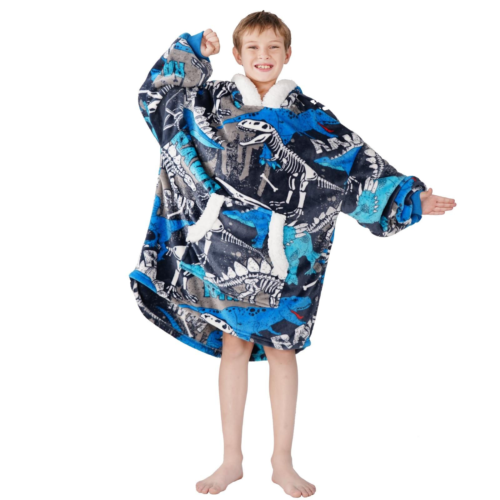 Winthome المتضخم بطانية هوديي للأطفال بنين بنات ، دافئ فائق النعومة بلوزة من الصوف بطانية هودي