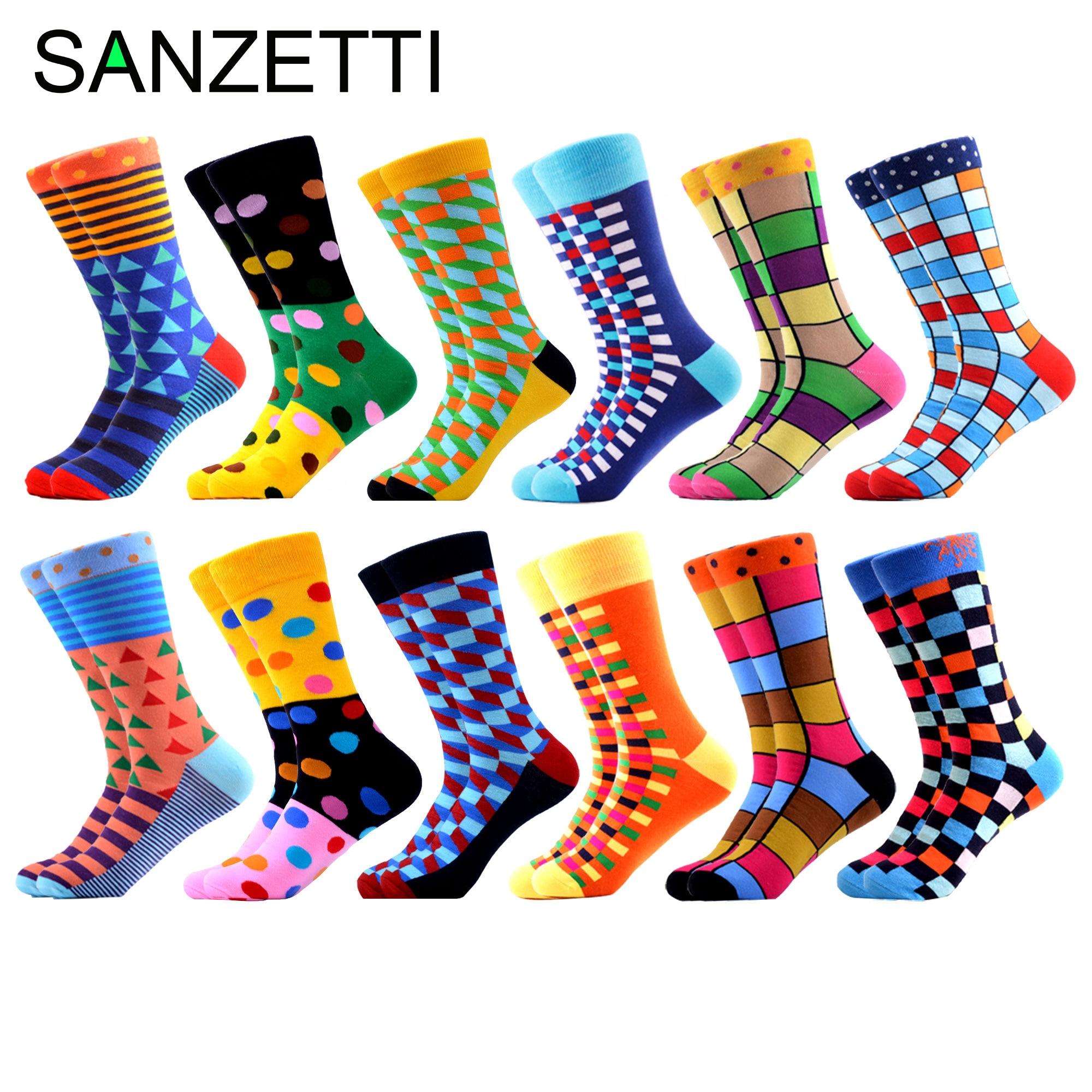 SANZETTI Men's Socks Hip Hop High Colorful Combed Cotton Happy Novelty Quality Skateboard Plaid Geometric Harajuku Gifts Socks недорого