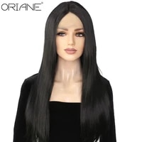 synthetic lace front wig long straight 1b black natural color with baby hair heat resistant fiber middle part lace wig for women