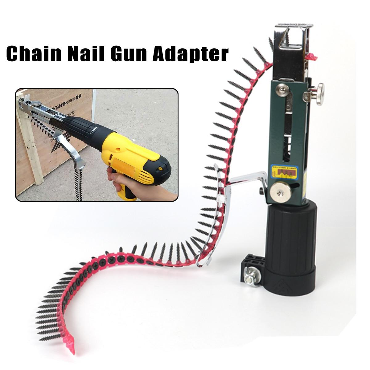 Adaptador de pistola de clavos de cadena automática, 1 unidad, herramienta de taladro eléctrico para carpintería, accesorio de taladro inalámbrico profesional