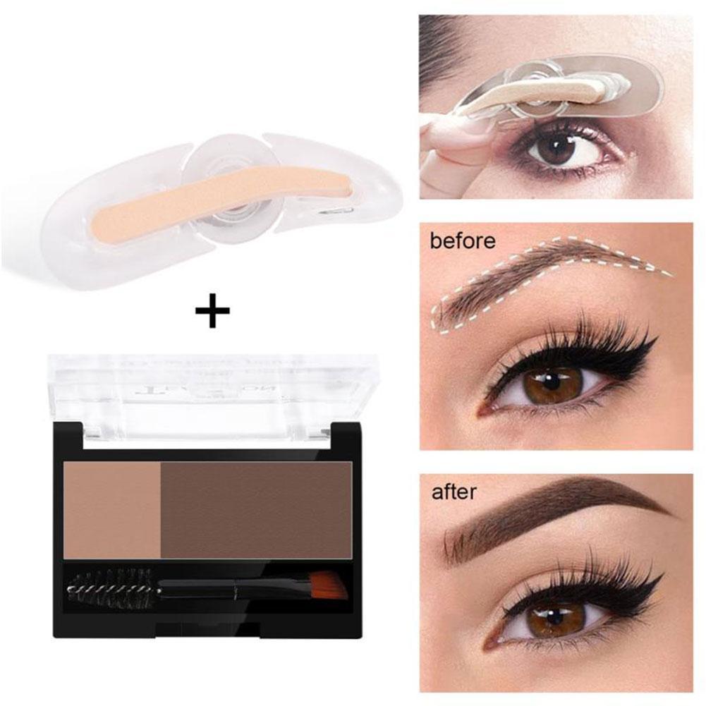 Double Color Eyebrow Powder Long Lasting Natural Enhancers Eye Brows Shadow Make Up Brow Powder Eye Brow Stamp
