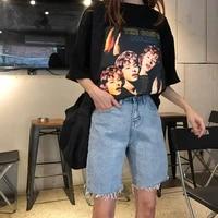 womens jeans summer korean preppy style oversize high waist denim five point pants frayed slim 2021woman casual wide leg jeans
