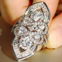 bohemia big sparkling 925 sterling silver ring luxury pave simulated diamond cocktail wedding rings for women jewelry gift