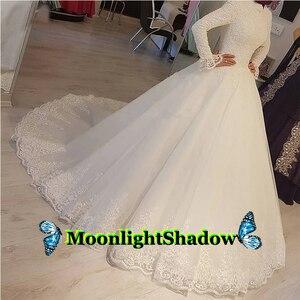 Elegant Muslim Wedding Dresses High Neck Ball Gown Lace Appliques Dubai Arabic Saudi Robe De Mariee Custom Made Plus Size