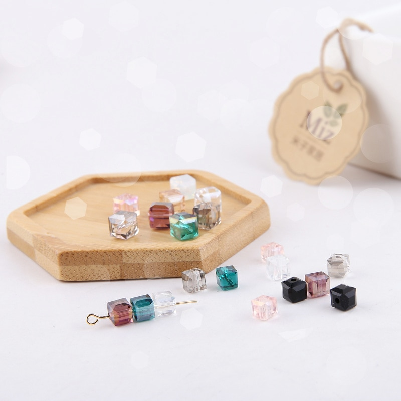 6mm Crystal Glass Beads Accessories For Jewelry Making, Square Shape Crystal Cube Glass Beads,100pcs/lot