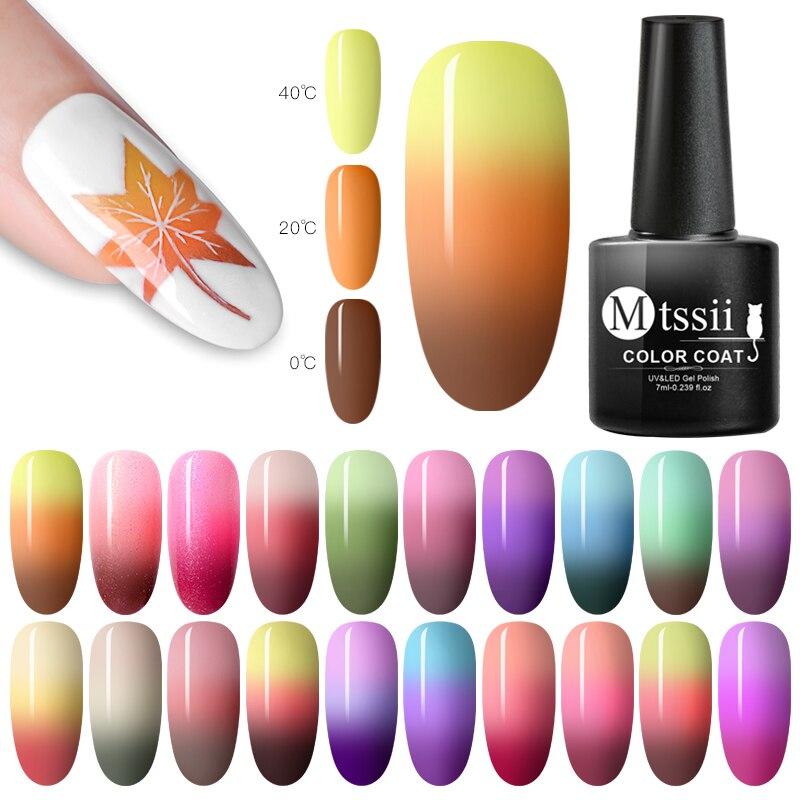 Mtssii 7ML Thermal Color Changing Gel Nail Polish 22 Colors Ultra-thin Gel Varnish Soak Off Nail Art Gel UV Gel Polish Lacquer недорого