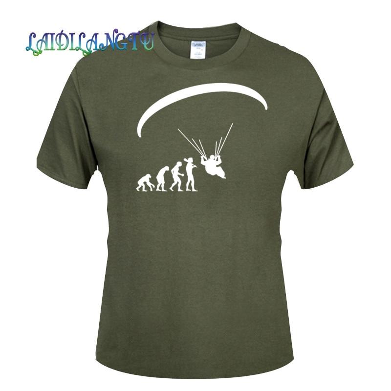 Nueva moda de verano nacido para volar Evolution Of Paragliding Paragliders camiseta para Hombre Ropa Tops camisetas de manga corta Camiseta