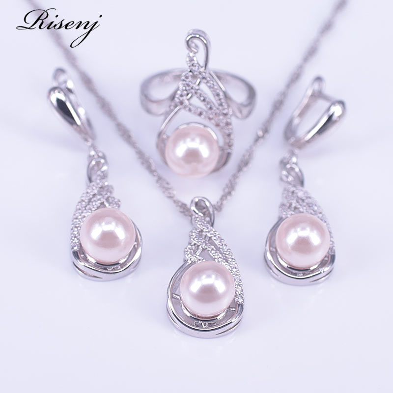 Conjunto de joyería rosa de plata y perlas de agua dulce 925 conjunto de disfraz de circonio blanco conjunto de joyería para mujer pendientes collar de anillo Set envío gratis