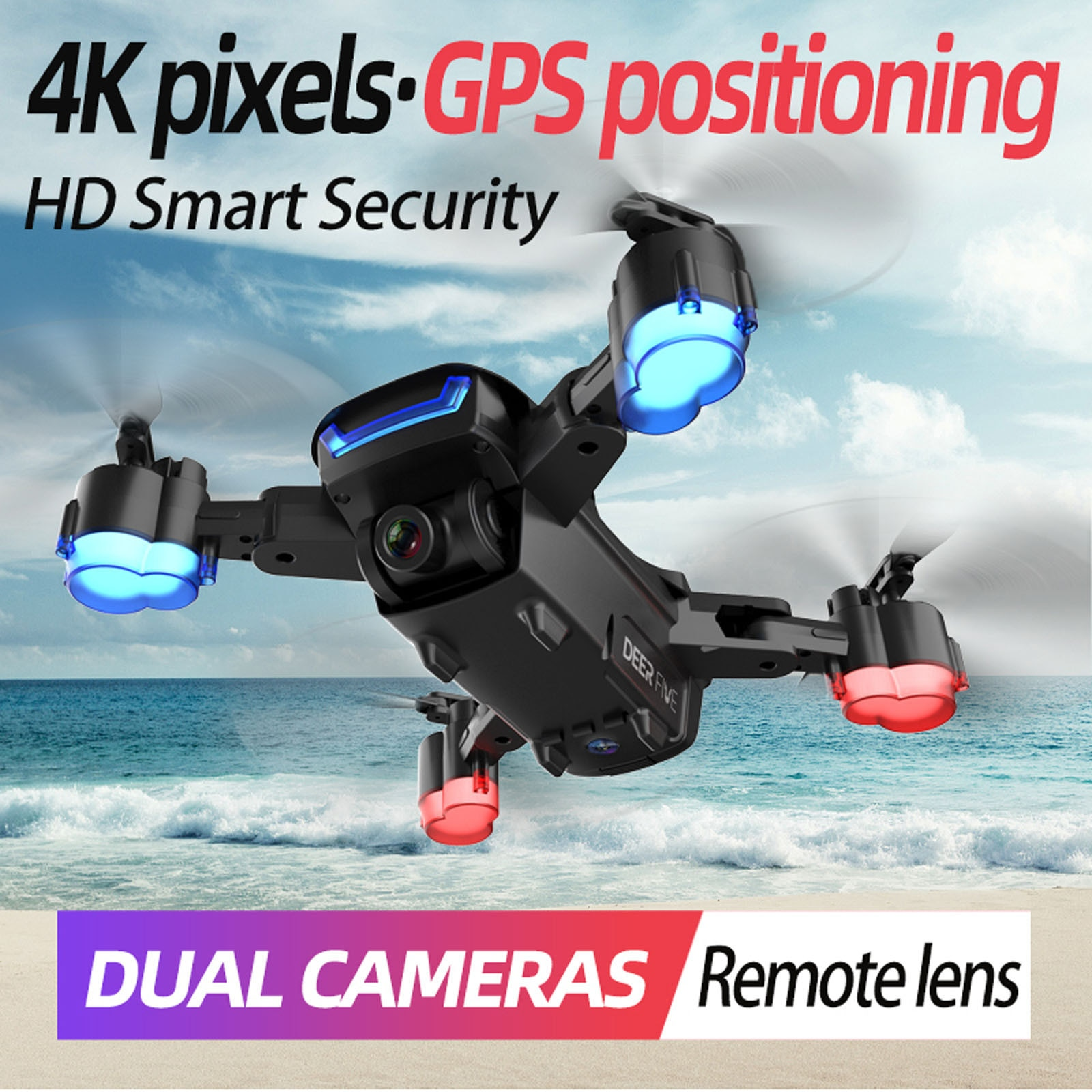 Lu5 Pro Folding Remote Control Drone Hd 4k Dual Camera Aerial Photography Brushless Gps Positioning Return Home Quadcopter #F