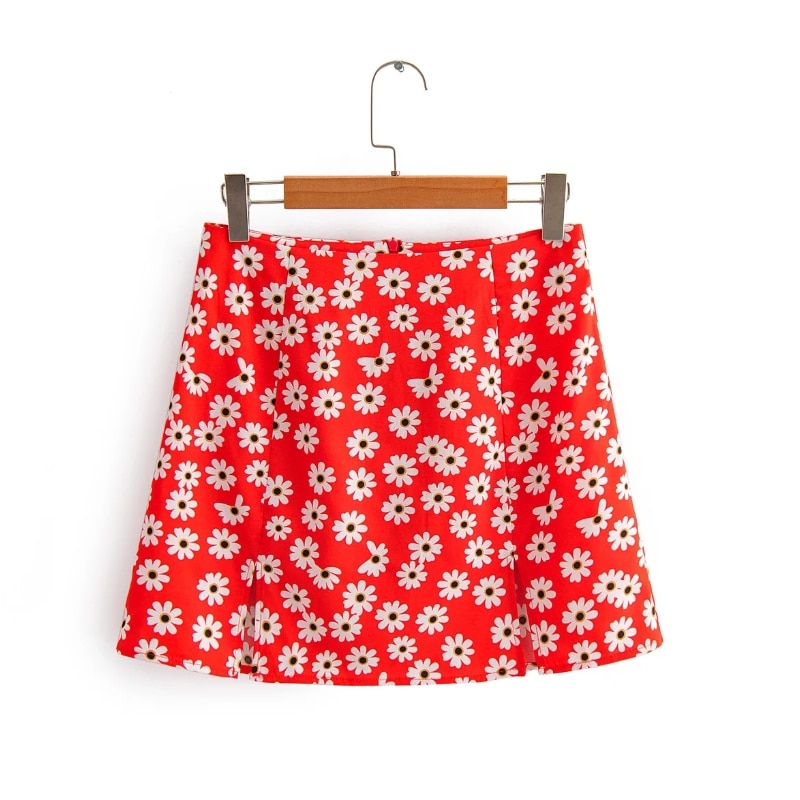 Flower Printing Side Slit Women Mini Skirt 2020 New Fashion Casual Ladies Sexy A-Line Skirts