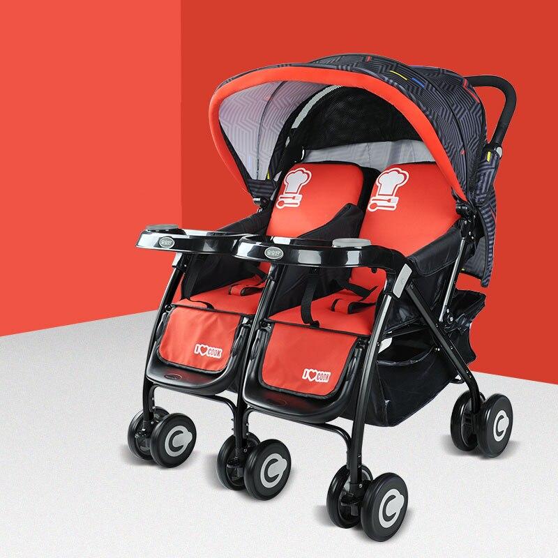 عربة أطفال مزدوجة قابلة للطي عربة أطفال لطفلين توأم لحديثي الولادة عربة أطفال للفصول الأربعة 0-3 Y